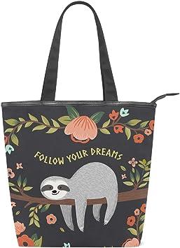 Women Handbags Sloth Tree Flower Pink Floral Leather Tote Bag Top Shoulder Handle Satchel Small Purse