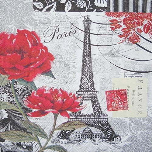 Set of 4 Eiffel Tower Paris B & W W/Red Roses Coasters Fabric Top Rubber Backed ()