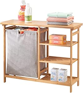 mDesign Bamboo Wood Laundry Station - Furniture Storage System with Hamper - 3 Open Storage Shelves to Organize Detergent, Liquid Fabric Softener, Bleach, Dryer Sheets, Stain Removers - Natural Finish