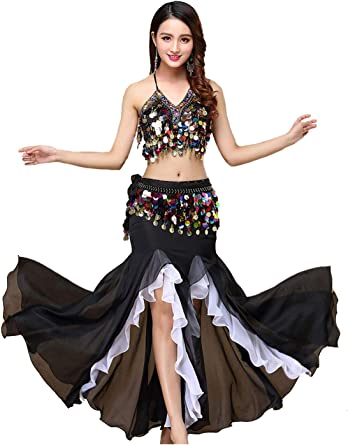 BestDance Belly Dance Professional Skirt Dress Dancer Tribal Costume Side Slit Maxi Long Skirt