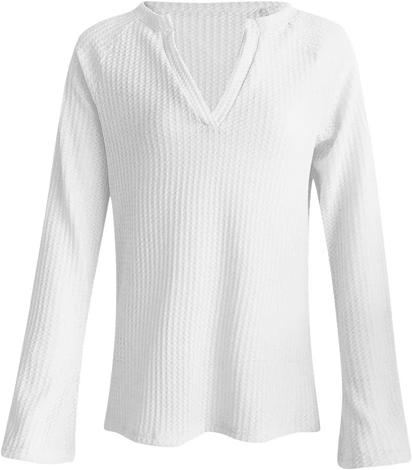 Lataw Womens Shirts Ladies Tops Fashion Deep V-Neck Knit Sweater Solid Color Long Sleeve Loose Soft Work Plain Tee Girls Blouses
