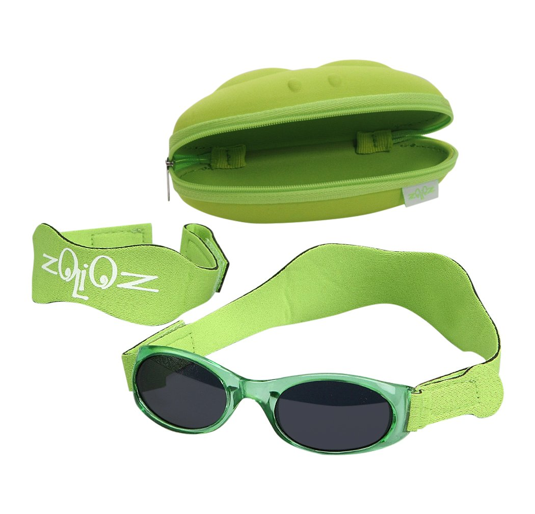 Tuga Baby/Toddler UV 400 Sunglasses w/ 2 Straps & Case, Green by Tuga Sunwear