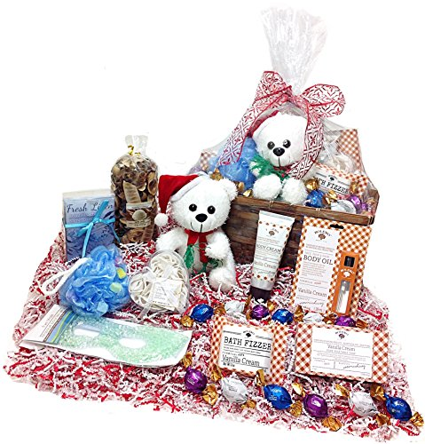 Deluxe Christmas Bath & Spa Gift Basket - Godiva Gourmet Truffles, Plush Teddy Bear, Potpourri & Pampering Products (VC)