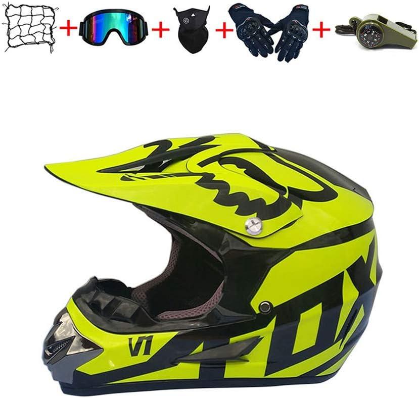 CJBYYBF Casco Motocross Niño, ECE Certificación Casco de moto para niños Downhill.Cascos de Cross de Moto Set con Gafas/Máscara/Red Elástica/Guantes (Amarillo, L:56-57 cm)