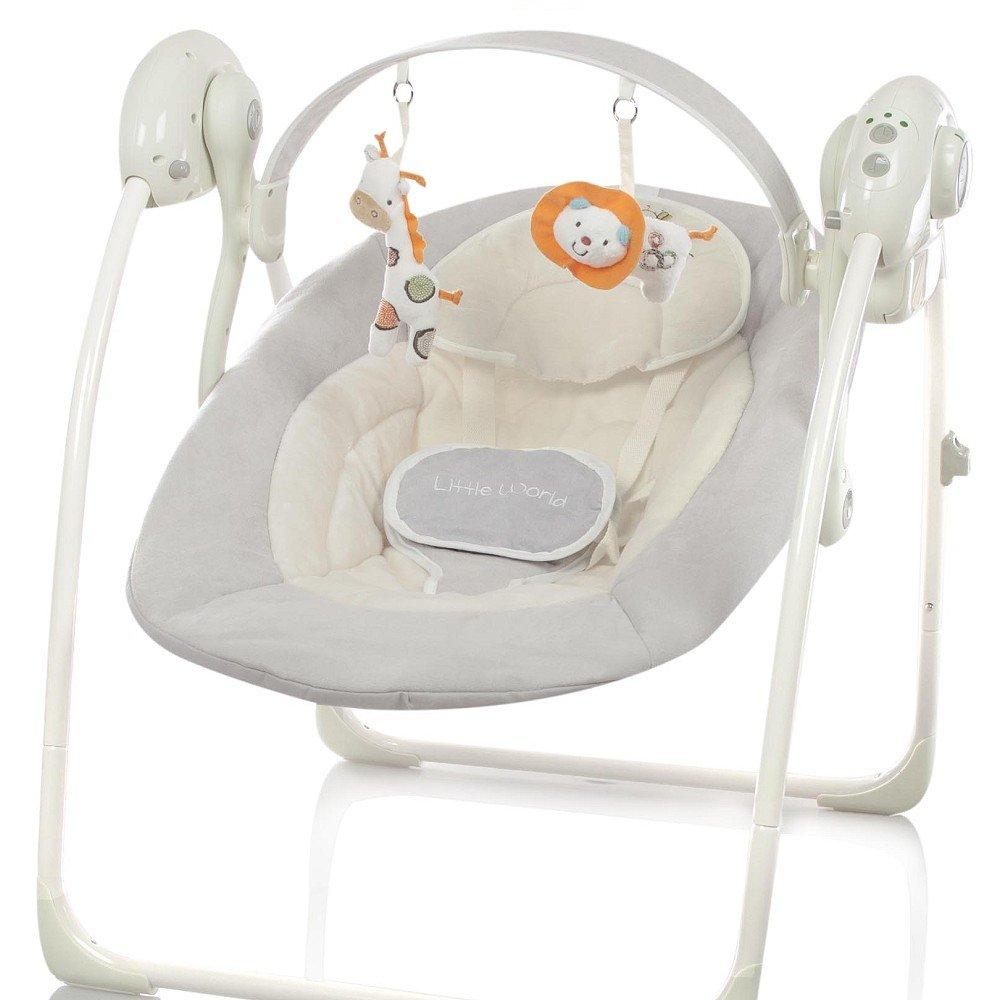 Automatische Elektrische Babyschaukel Little World: Dreamday GRAU verstellbar 5 Schaukelstufen 8 Melodien LWD701