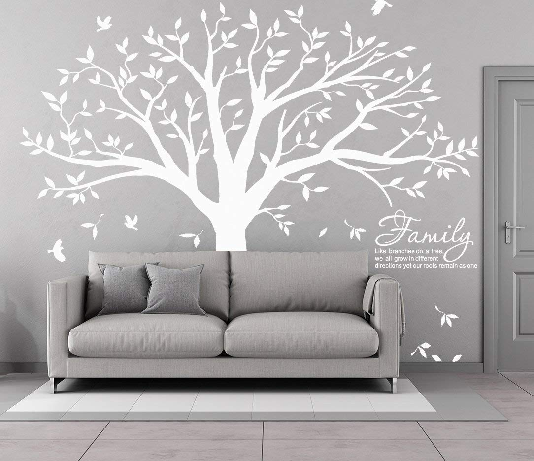 MAFENT Family Tree Wall Decal Quote- Family Like Branches On A Tree Lettering Tree Wall Sticker for Bedroom Decoration (White) by MAFENT (Image #8)