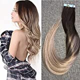 Full Shine 22 inch 20Pcs Per Package 50gram #4 Dark Brown Fading to #18 Ash Blonde Make a Balayage Hair Color Seamless Tape in Hair Extensions