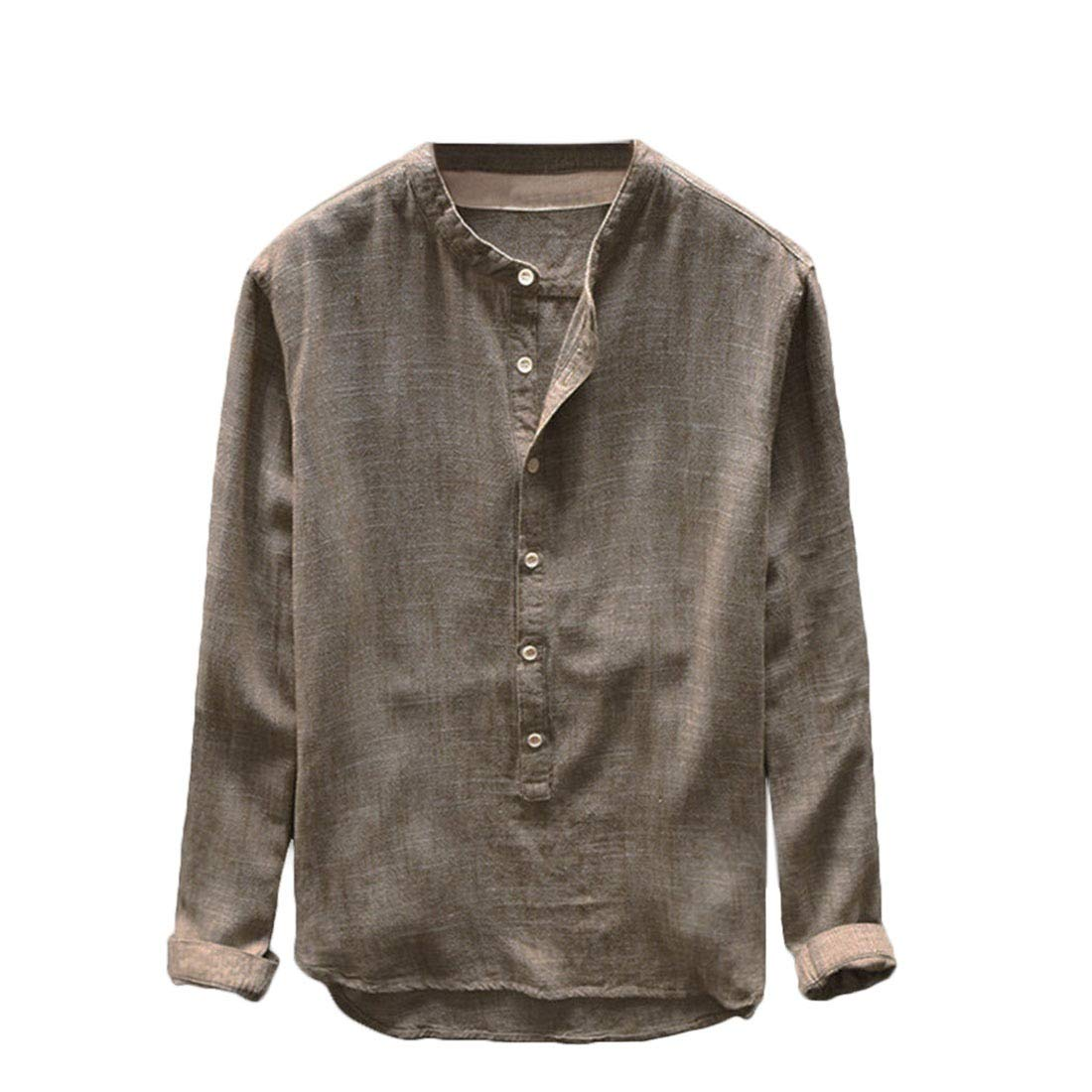 Doufine-men clothes Mens Button Down Stand Collar Long Sleeve Casual Loose Shirt