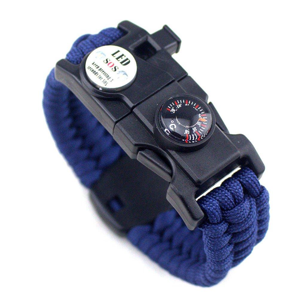Männer Frauen Geflochtene überleben Armband LED-Licht Paracord Armband Camping Rettungsseil Zahnradsatz mit Pfeife-Kompass-Feuer-Starter LUFA