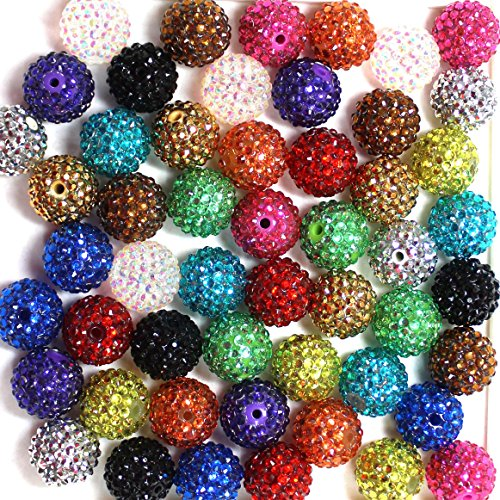 (20mm Mix of 52 Metallic Style Rhinestone Chunky Bubblegum Beads 13 Colors Resin Gumball LooseBeads Lot)