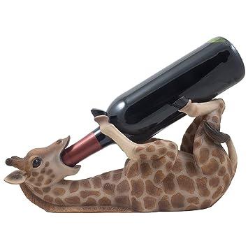 Drinking Giraffe Wine Bottle Holder Statue In African Jungle Safari Sculptures And Figurines Decor Wildlife
