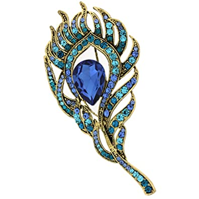 Vintage Blue/Teal Swarovski Crystal 'Peacock Feather' Brooch In Burn Gold - 8cm Length UjMPyT5f