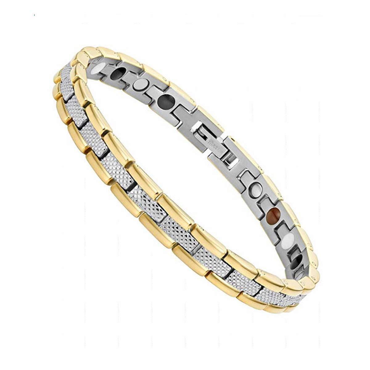 Vinca Mascot Ladies Elegant Magnetic Bracelet for Women Arthritis Pain Relief Perfect Health, Gold Silver