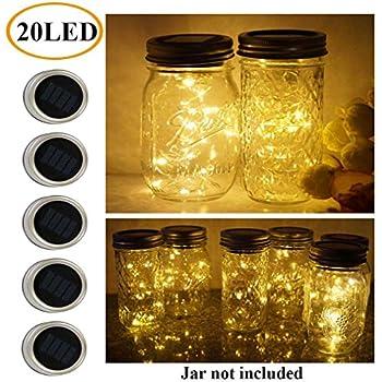 mason jars lighting. 5 pack mason jar lights 20 led solar warm white fairy string lids insert jars lighting