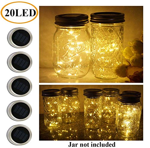 5 Pack Mason Jar Lights, 20 LED Solar Warm White Fairy String Lights Lids Insert for Garden Deck Patio Party Wedding Christmas Decorative Lighting Fit for Regular Mouth (Led Mason Jar Lights)