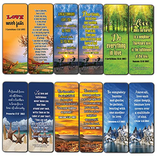 (Christian Bookmarks Cards (60-Pack)- Love One Another Bible Verses Quotes - Great Stocking Stuffers Gifts for Men Women - Church Supplies for Ministry Bulletin Cell Group Baptism Evangelism Christmas)