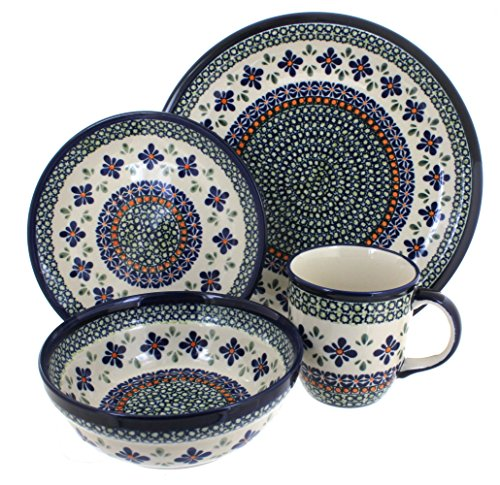 Polish Pottery Mosaic Flower 16 Piece Dinner Set