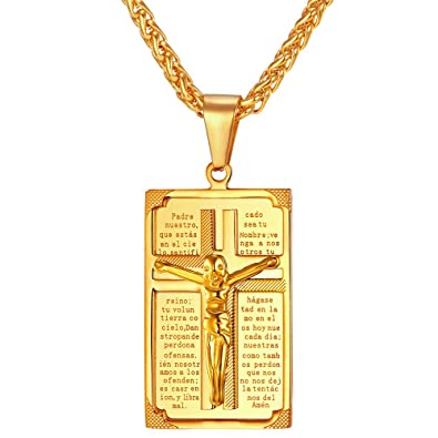 Amazon u7 crucifix cross pendant antique 18k gold plated u7 crucifix cross pendant antique 18k gold plated christian jewelry jesus religious necklace men mozeypictures Images
