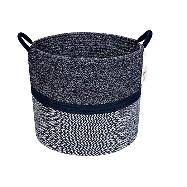 Runju Home XLarge Cotton Rope Basket 15″ x 15″ x 13″ Woven Baby Laundry Basket for Blankets Toys Storage Basket with Handle Comforter Cushions Storage Bins Thread Laundry Hamper