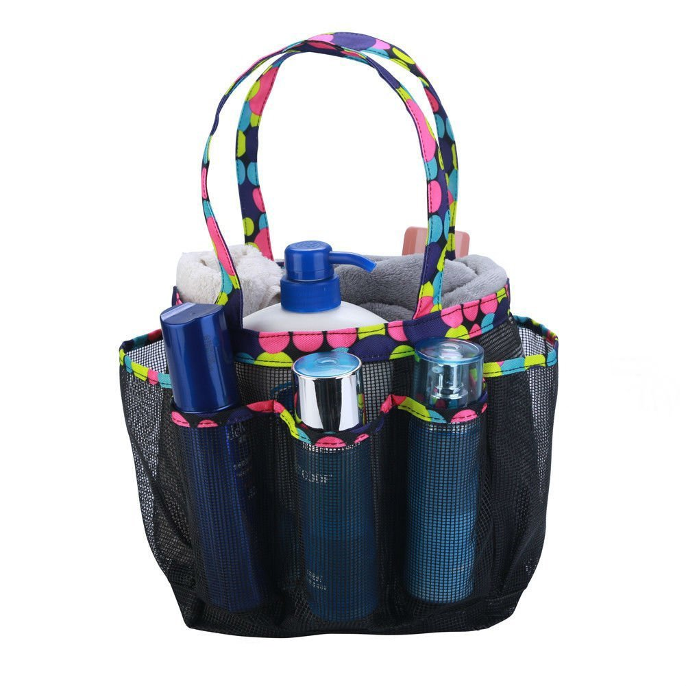 SAISN Mesh Portable Shower Caddy with 7+1 Pocket Bath Organizer Bag Quick Dry Shower Tote Bag Oxford Hanging Toiletry and Bath Organizer for Shampoo Hanging Bath Travel (Black)