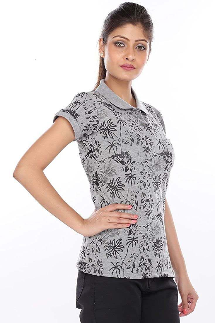 5e44fa20d BRINK Women Printed Melange Grey Polo T-Shirt: Amazon.in: Clothing &  Accessories