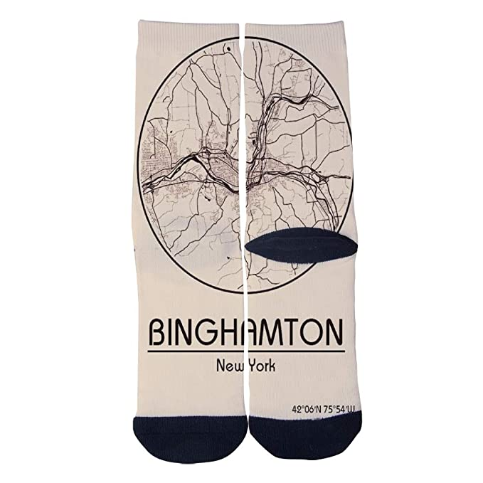 7248096318c City Map in USA Binghamton New York North America Socks Men's Women's  Casual Socks Custom Creative