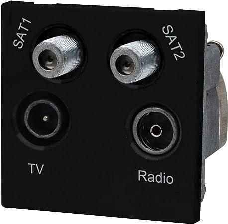 FM /& 2 Satellite Quadruplex Grid Module White LAP TV