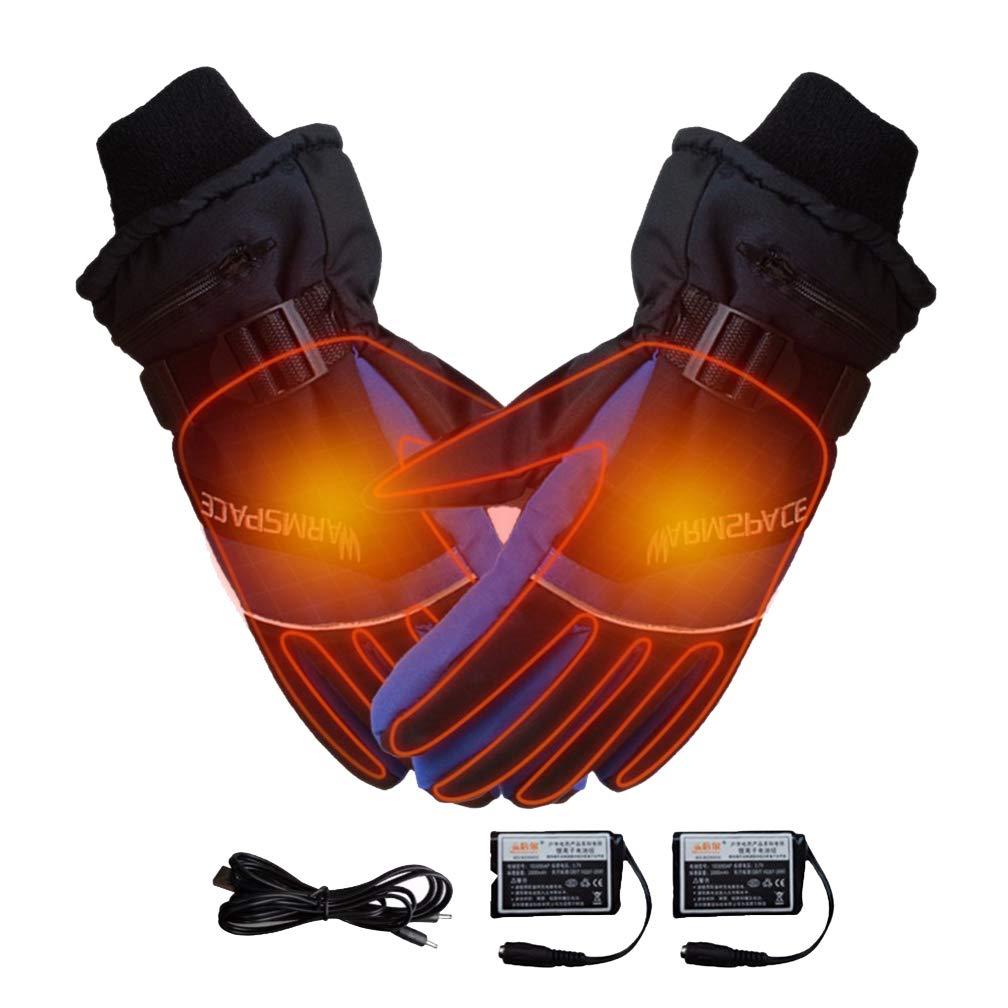 HRRH Beheizte Handschuhe, USB wiederaufladbare Lithium-Batterie-Handwärmer-elektrische thermische Handschuhe 4000MAH, Wasserdichte beheizte Handschuhe für Motorrad, Skihandschuhe