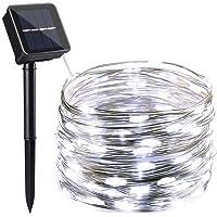 NEXVIN Guirnalda Luces Exterior Solares, 12m 100 LED Cadena de Luces de Alambre de Cobre, Luces Navidad Blanco…