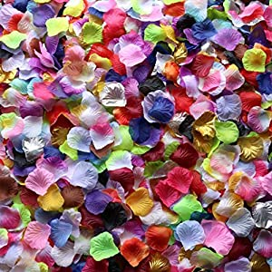 Gresorth Multicolor Artificial Silk Rose Petals Fake Petal Flower Decoration for Wedding Party - 2000 PCS 92