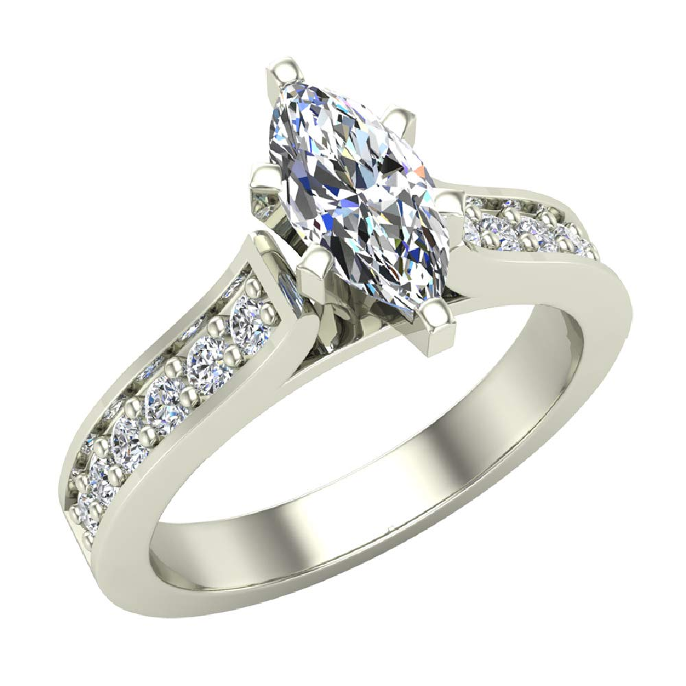 04aa6fb2bfeb3 Galleon - Marquise Brilliant Cut Accented Diamond Engagement Ring 1 ...