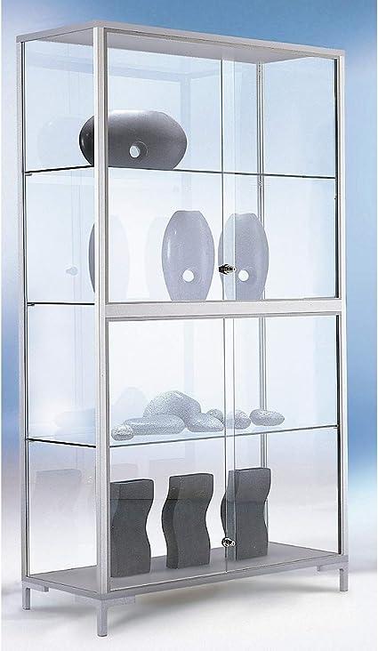 Atril vitrina, Alto 1000 x 400 x 1860 mm, perfiles de aluminio, 4 estantes de cristal, puertas correderas, cerradura de cilindro, füáe en: Amazon.es: Oficina y papelería