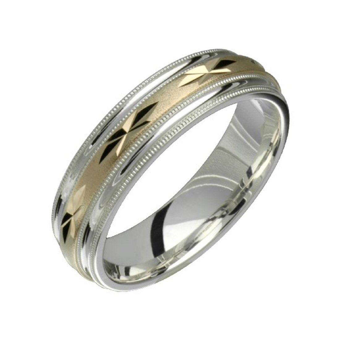 Alain Raphael 2 Tone Sterling Silver and 10k Yellow Gold 6 Millimeters Wide Wedding Band Ring