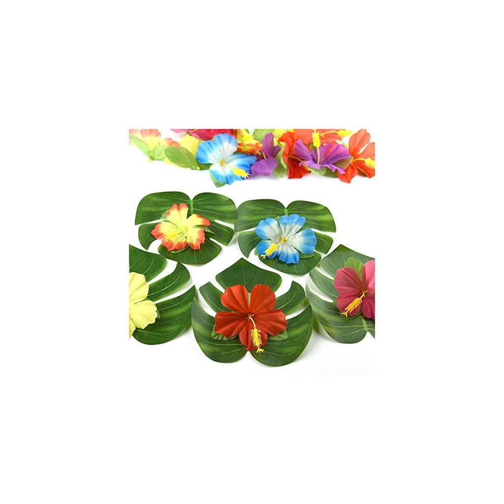 KUUQA 60 Pcs Tropical Party Decoration Supplies 8″ Tropical Palm Monstera Leaves and Hibiscus Flowers, Simulation Leaf for Hawaiian Luau Party Jungle Beach Theme Table Decorations