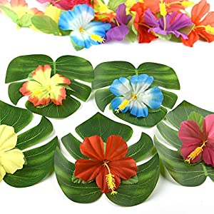 """Kuuqa 60 Pcs Tropical Party Decoration Supplies 8"""" Tropical Palm Monstera Leaves and Hibiscus Flowers, Simulation Leaf for Hawaiian Luau Party Jungle Beach Theme Table Decorations 3"""