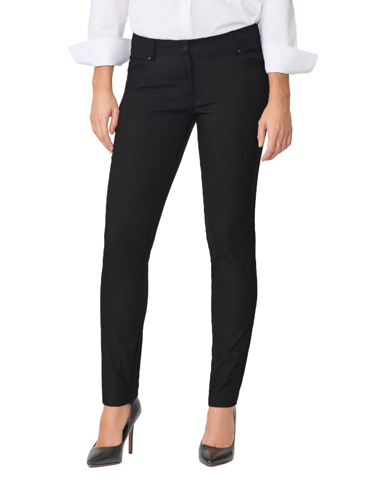 89th&Madison Five Pocket Stretch Straight Leg Pants (10, Black)