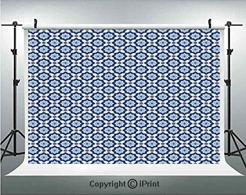 Moroccan Photography Backdrops Azulejo Tile Pattern Diagonal Ceramic Pattern Arabesque Star Design Ornament Decorative,Birthday Party Background Customized Microfiber Photo Studio Props,7x5ft,Dark Blu