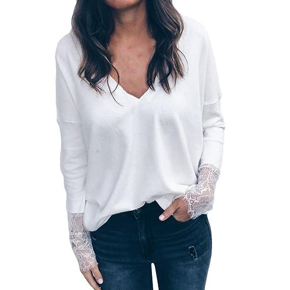 QUICKLYLY Camiseta Mujer Mujeres Largo Encaje Manga Cuello en V Blusa Suelto Pulóver Top Moda Sólido