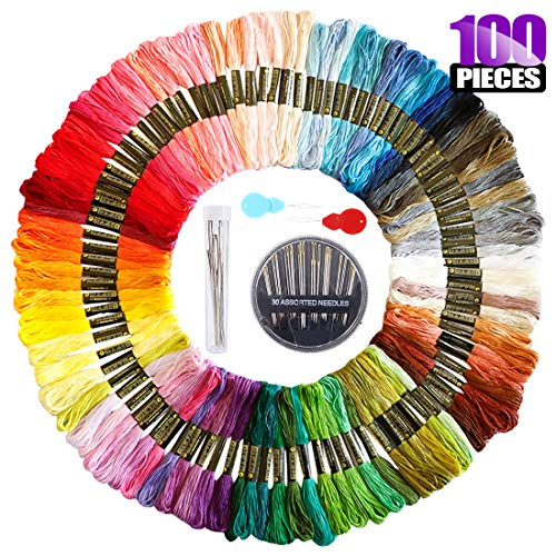 Swpeet 104Pcs Premium Rainbow Color Embroidery Floss with Sewing Needles Kit, Cross Stitch Threads Bracelets Floss Crafts Floss Hand Sewing Needle Threaders Set for Crafters Lovers - Colors Randomly