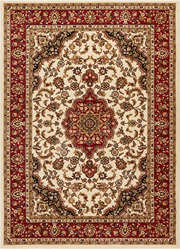 Noble Medallion Ivory Persian Floral Oriental Formal Traditional Area Rug 7x10 (6'7