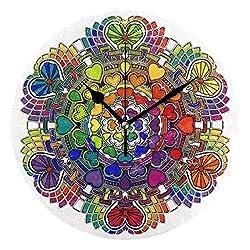 Ladninag Wall Clock Mandala Personalized Silent Non Ticking Decorative Round Digital Clocks Indoor Outdoor Kitchen Bedroom Living Room