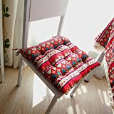 yazi Red Mediterranean Bohemian Style Tie On Dining Room Chair Pad Office Square Seat Cushion