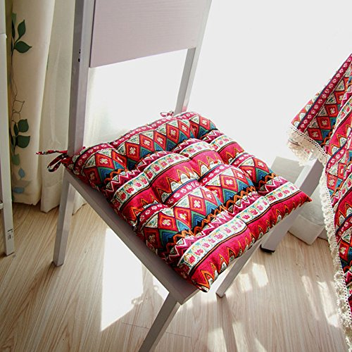yazi Red Mediterranean Bohemian Style Tie On Dining Room Chair Pad Office Square Seat Cushion by yazi
