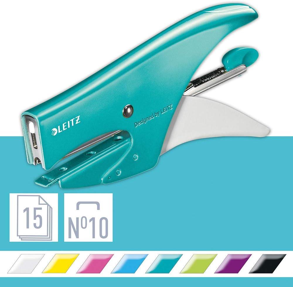 Design Ergonomico in Metallo Include Punti Bianco Gamma WOW Leitz Cucitrice a Pinza Capacit/à 15 Fogli Blister