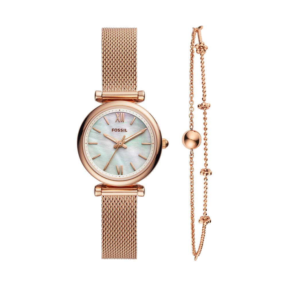 ویکالا · خرید  اصل اورجینال · خرید از آمازون · Fossil Women's Quartz Stainless-Steel Strap, Rose Gold, 12 Casual Watch (Model: ES4443SET) wekala · ویکالا