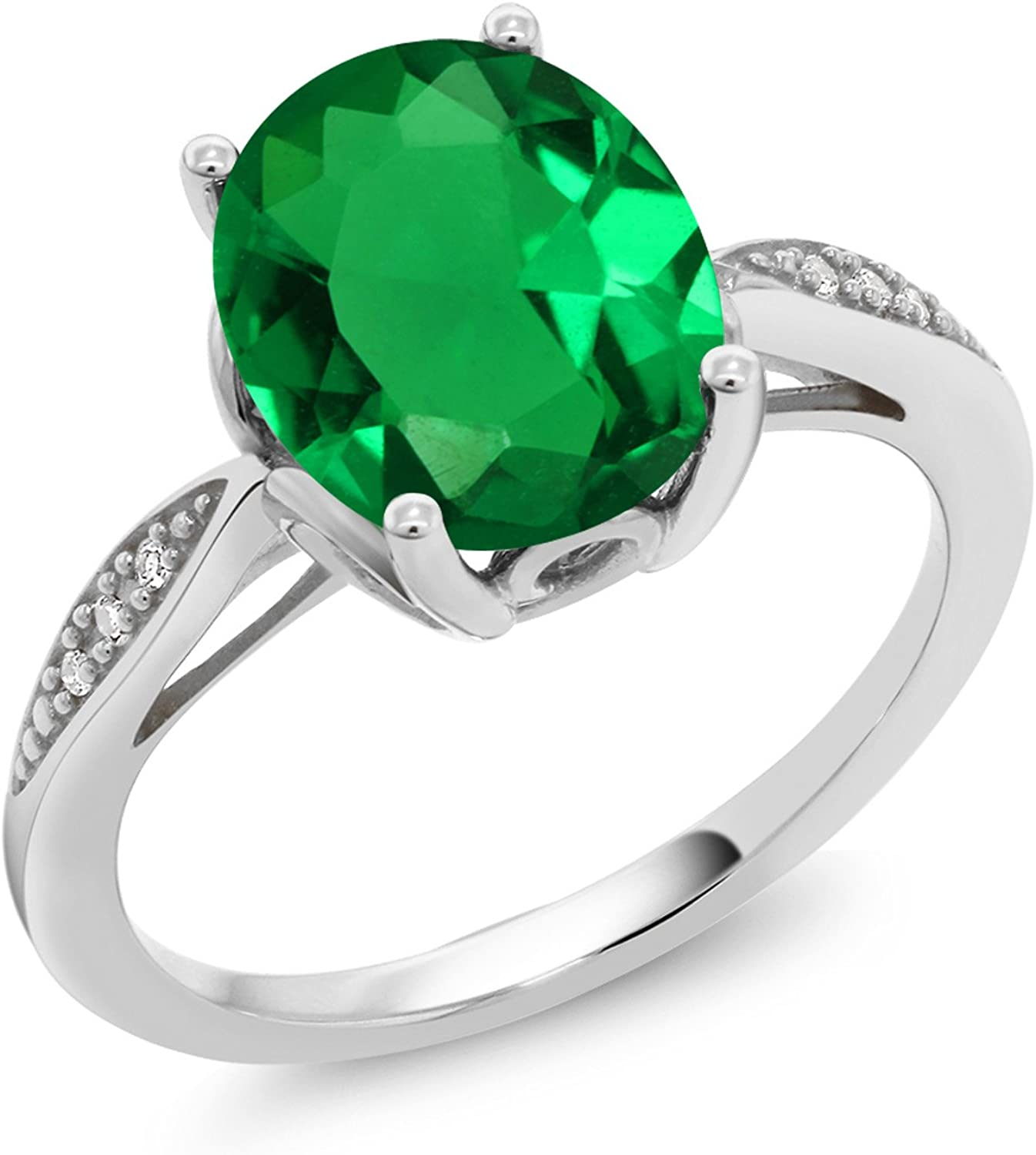 Gem Stone King 14K White Gold Green Simulated Emerald and White Diamond Women's Ring (2.24 Ct Oval, Available in size 5, 6, 7, 8, 9)