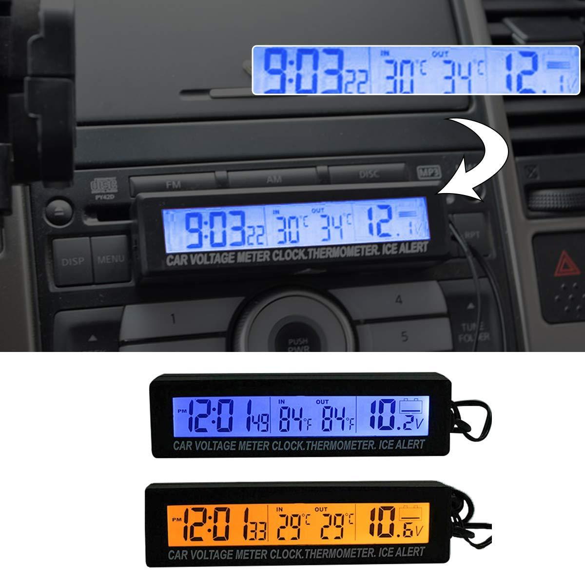 supporta le modalit/à di trasformazione 12h//24h HugeAuto orologio digitale universale per cruscotto auto con luce nera e schermo LCD regolabile con indicatore della temperatura del veicolo