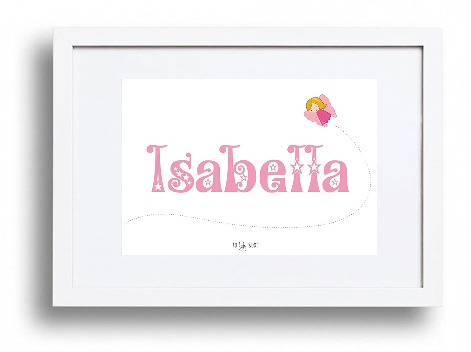 Baby or child' s personalised gift - Name print/picture in Fairy theme - A4 (Purple) Ginger Ink Design A4FAIR