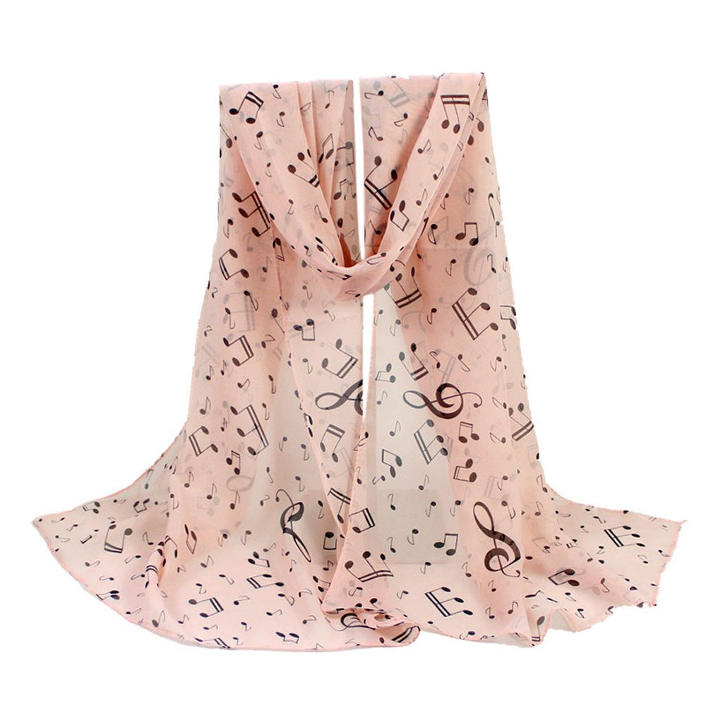 Wociaosmd Lady Women Special Music Note Print Chiffon Scarf Long Soft Shawl Wraps (Pink,B)