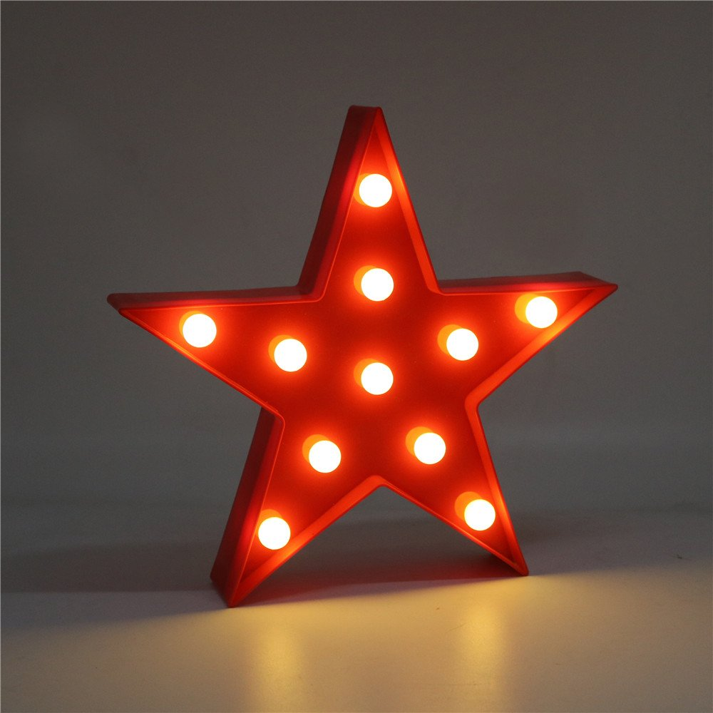 DELICORE Marquee Light Star Shaped LED plastic Sign-Lighted Marquee STAR Sign Wall Décor Battery operated (Red)
